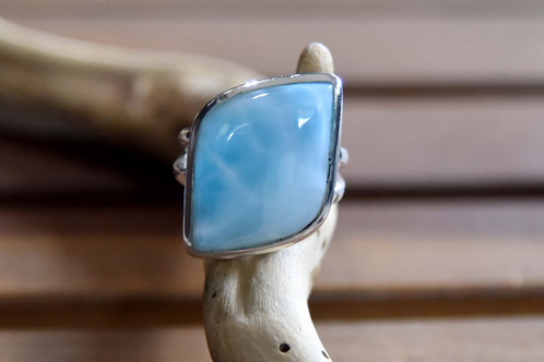 Larimar Ring - Sterling Silver - Size: 9.5