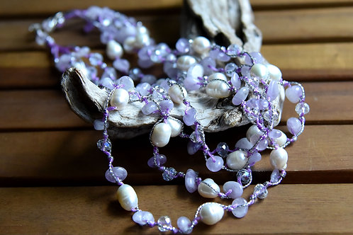 4 Strand Baroque Pearls and Amethyst Necklace