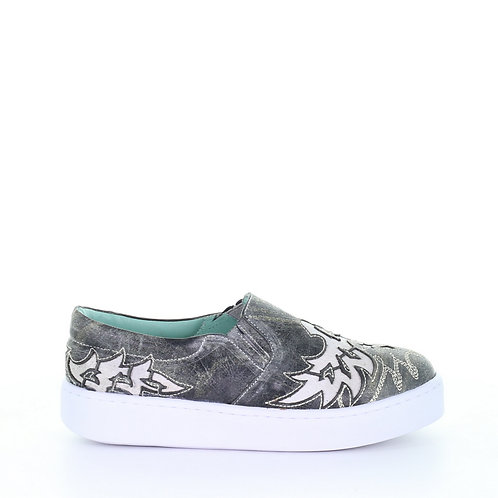 E1567 Corral Gray and Cream Inlay Embroidered Sneaker