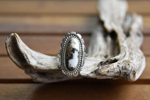 White Buffalo Ring - Sterling Silver - Size: 9