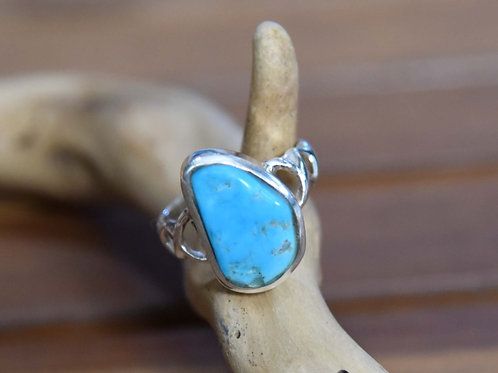 Sleeping Beauty Turquoise Ring - Sterling Silver - Size: 9