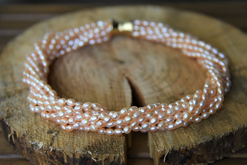 Multi Strand Small Baroque Pink Pearl Necklace