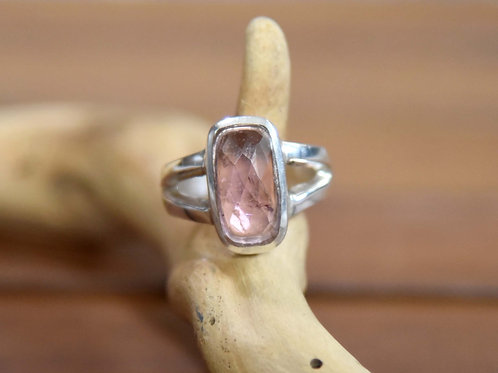 Pink Tourmaline Ring - Sterling Silver - Size: 8.5