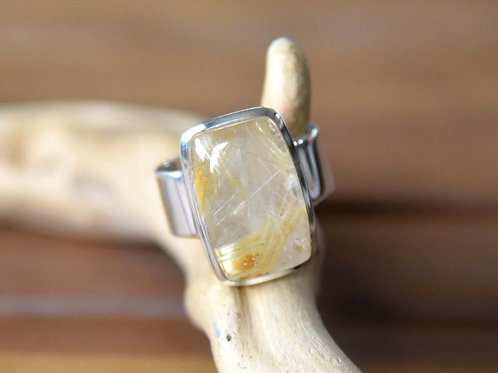 Golden Rutilated Quartz Ring - Sterling Silver - Size: 8.5