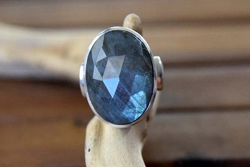 Blue Labradorite Ring - Sterling Silver - Size: 9