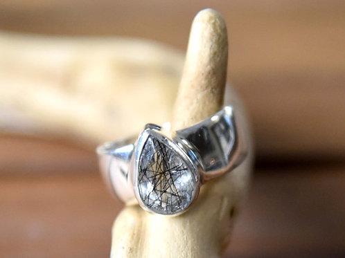 Black Tourmaline Quartz Ring - Sterling Silver - Size: 8.5