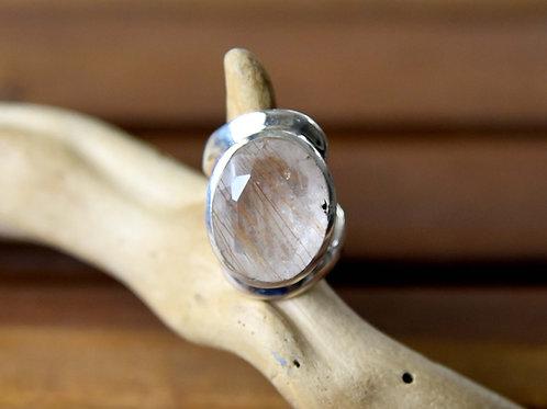 Golden Rutilated Quartz Ring - Sterling Silver - Size: 5