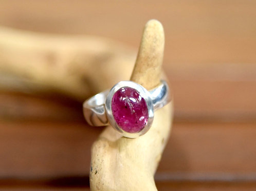 Pink Tourmaline Ring - Sterling Silver - Size: 8