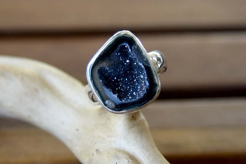 Geode Ring - Sterling Silver - Size: 9