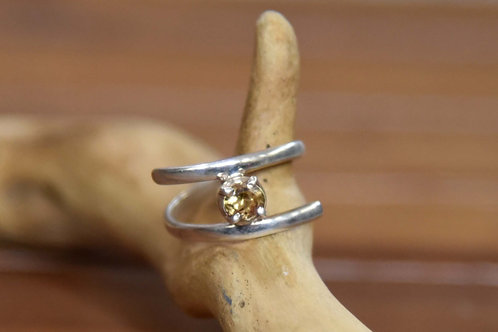 Natural Citrine Ring - Sterling Silver - Size: 8