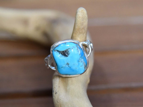 Sleeping Beauty Turquoise Ring - Sterling Silver - Size: 7.5