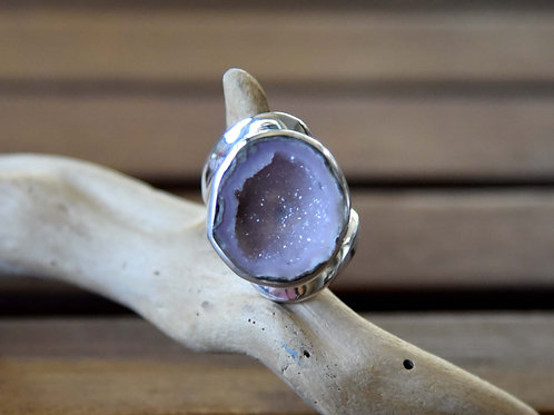 Geode Ring - Sterling Silver - Size: 8.5