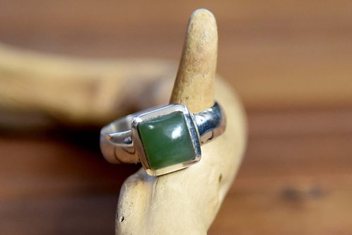 Jade Ring - Sterling Silver - Size: 10