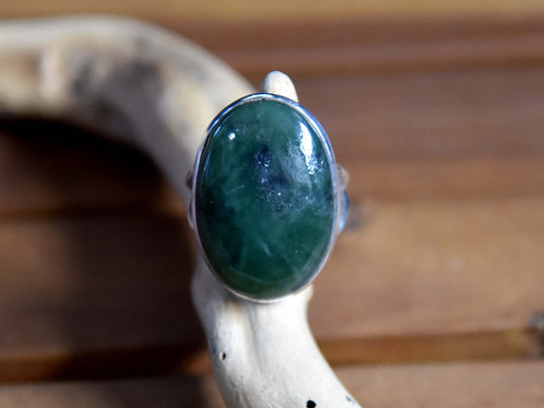 Jade Ring - Sterling Silver - Size: 8