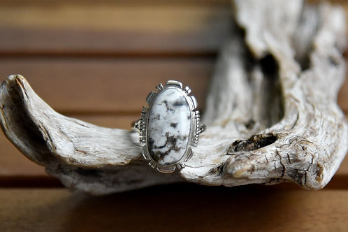 White Buffalo Ring - Sterling Silver - Size: 8 1/2