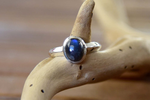 Blue Labradorite Ring - Sterling Silver - Size: 10