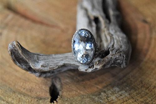 Aquamarine Silver Ring - Size: 6