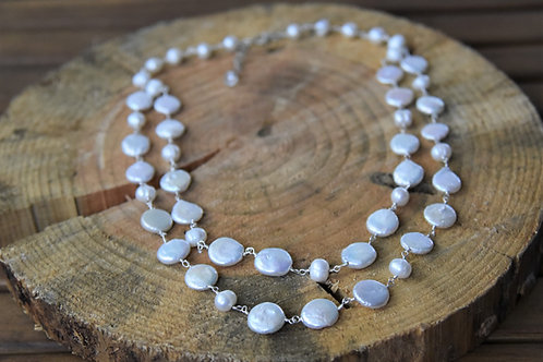 2 Strand White Baroque and Coin Pearls Necklace