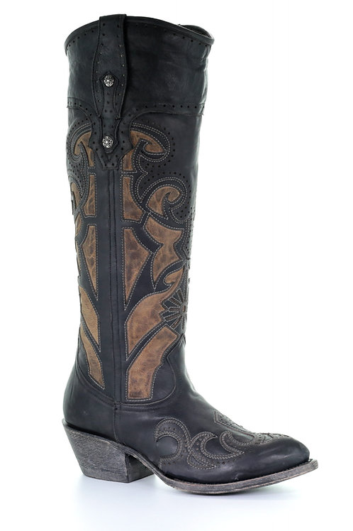 G1447 Corral Womens Black Tan Laser Cutout And Embroidery Boots