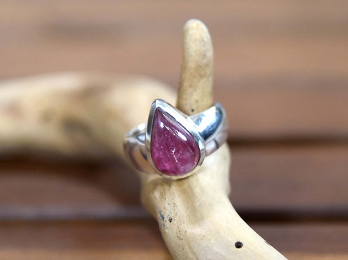 Pink Tourmaline Ring - Sterling Silver - Size: 7