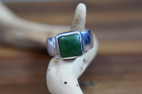 Jade Ring - Sterling Silver - Size: 11.5