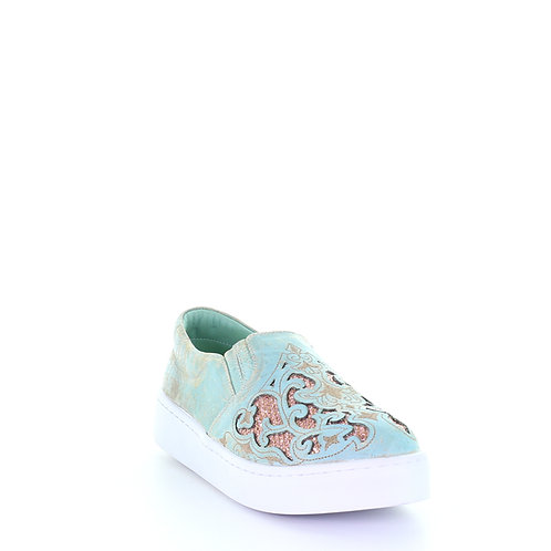 E1564 Corral Turquoise with Brown Glitter Inlay Sneaker