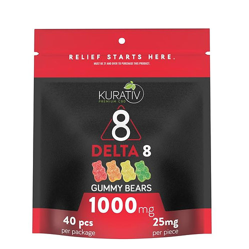Kurativ Delta 8 THC Multi-flavor Gummy Bears 40pc = 1000mg