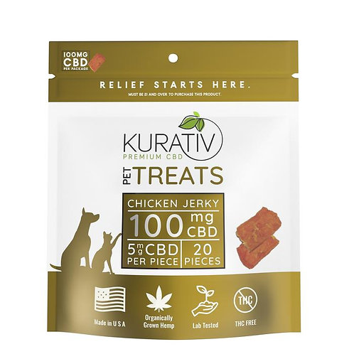 CBD Chicken Jerky for Pets 20pc = 100mg