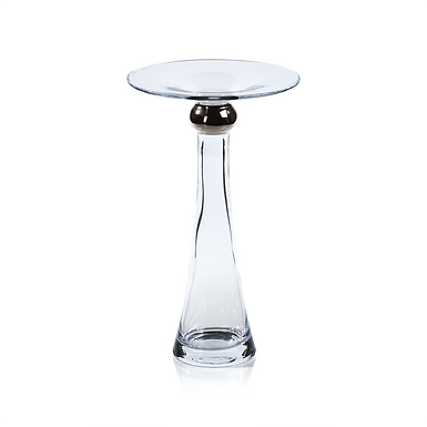 Large Marmorino Glass Candle Holder with Platinum Band