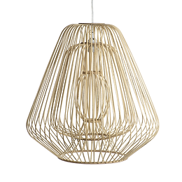 Bamboo & Rattan Layered Bell Shape Pendant in Natural