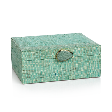 Large Raffia Palm Box with Stone Accent