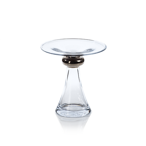 Small Marmorino Glass Candle Holder with Platinum Band