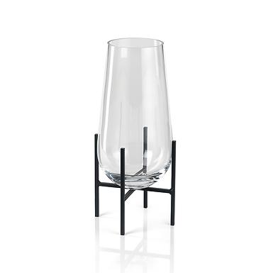 Small Salema Vase/Hurricane on Metal Stand - Set of 2