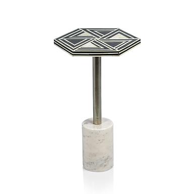 Hexagon Sultana Cocktail Table on Marble Base