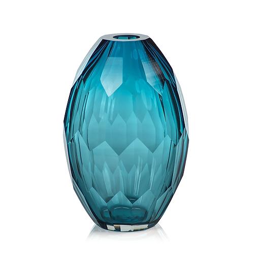 Maya Hand Cut Glass Vase - Large