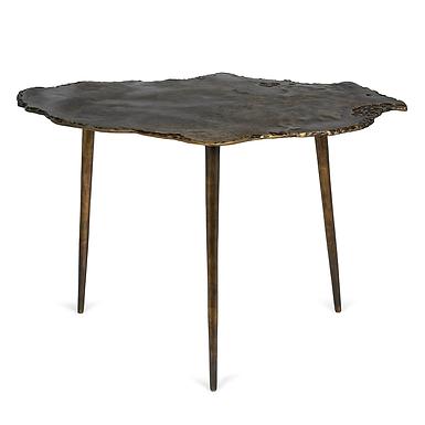 Large Exotic Aluminum Wood Slice Design Table in Antique Nickel