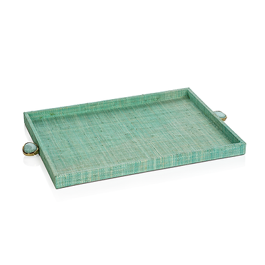 Large Raffia Palm Tray with Stone Accent