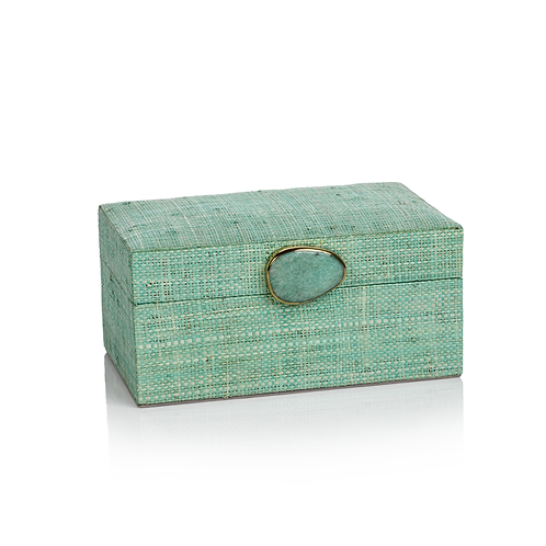 Small Raffia Palm Box with Stone Accent