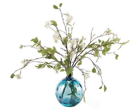 Pear Blossoms in Rhapsody Blue Vase