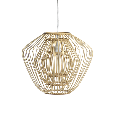 Bamboo & Rattan Layered Inverted Diamond Pendant in Natural