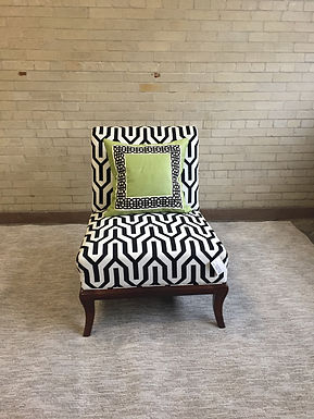 Armless Black & White Chair with Pillow