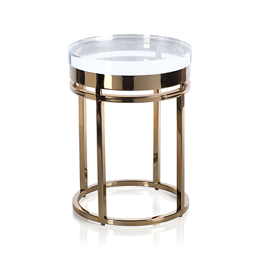 The Langham Side Table in Polished Gold