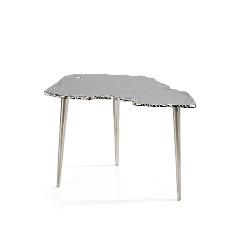 Small Exotic Aluminum Wood Slice Design Table
