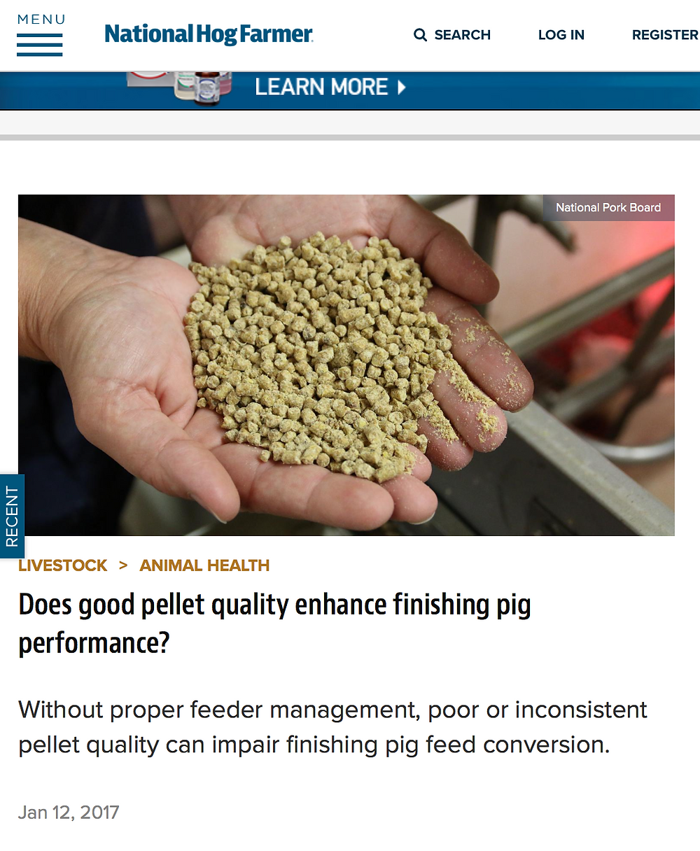 "National Hog Farmer article: ""Does good pellet quality enhance finishing pig performance?"""