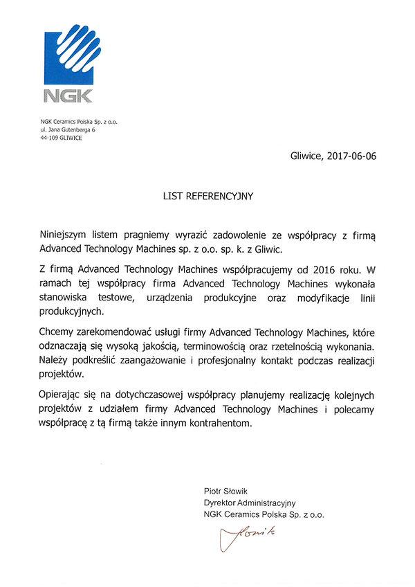 List referencyjny NGK