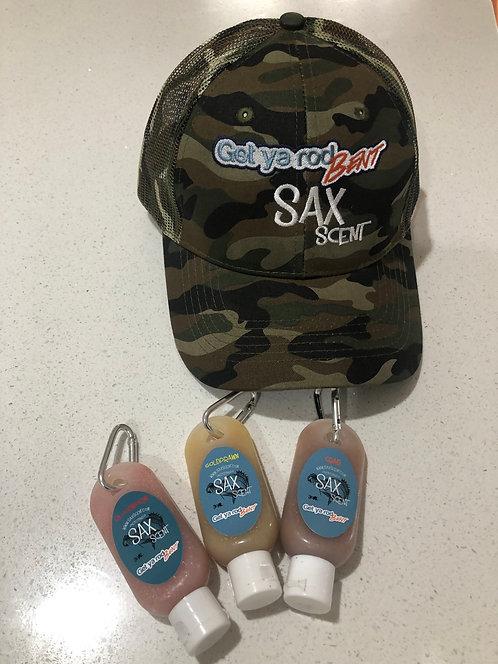 Sax scent Camo Trucker Cap and 3 pack of 30ml Sax scent