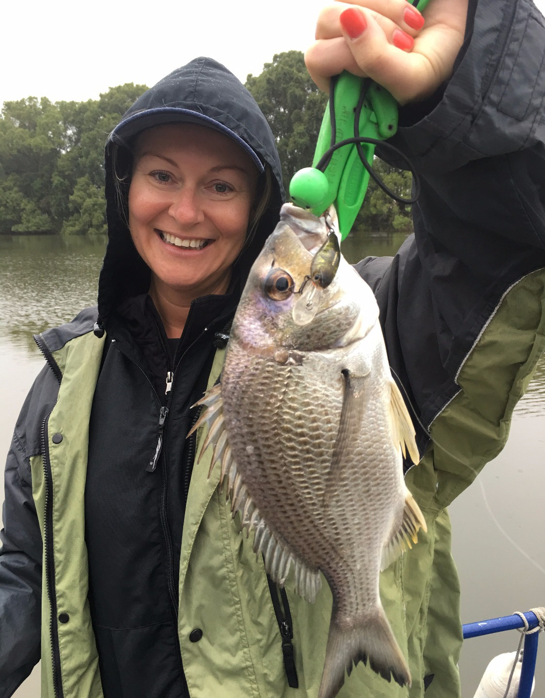 Kylie with a cracking bream on hard
