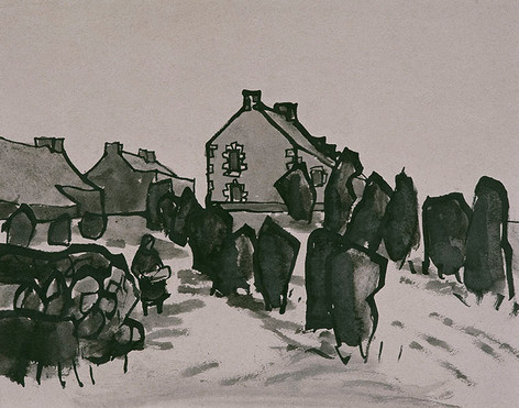 Cottages and Churchyard, 1964
