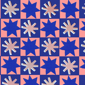 repeat pattern stars in navy and salmon.
