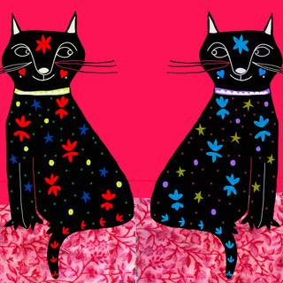 twin kitties pink